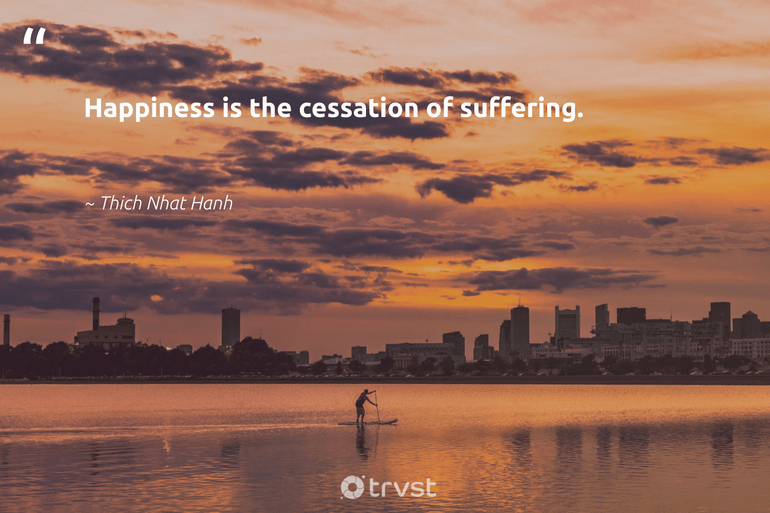 """""""Happiness is the cessation of suffering.""""  - Thich Nhat Hanh #trvst #quotes #happiness #nevergiveup #dosomething #mindset #takeaction #togetherwecan #gogreen #changemakers #ecoconscious #health"""