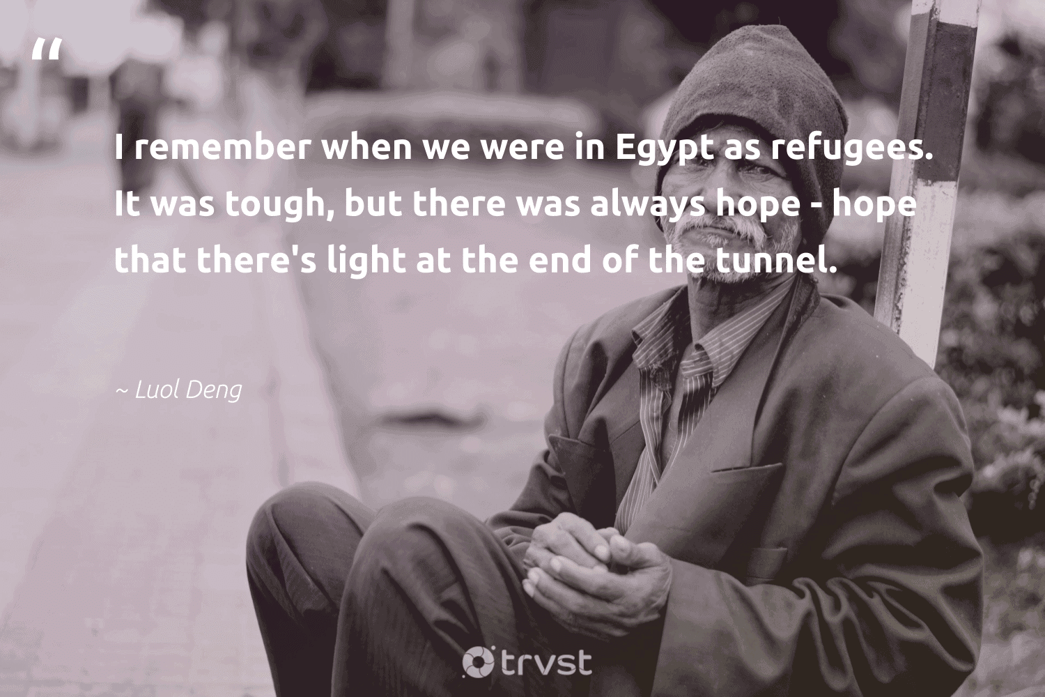 """""""I remember when we were in Egypt as refugees. It was tough, but there was always hope - hope that there's light at the end of the tunnel.""""  - Luol Deng #trvst #quotes #refugees #hope #refugee #sustainablefutures #inclusion #dotherightthing #syria #makeadifference #equalrights #ecoconscious"""