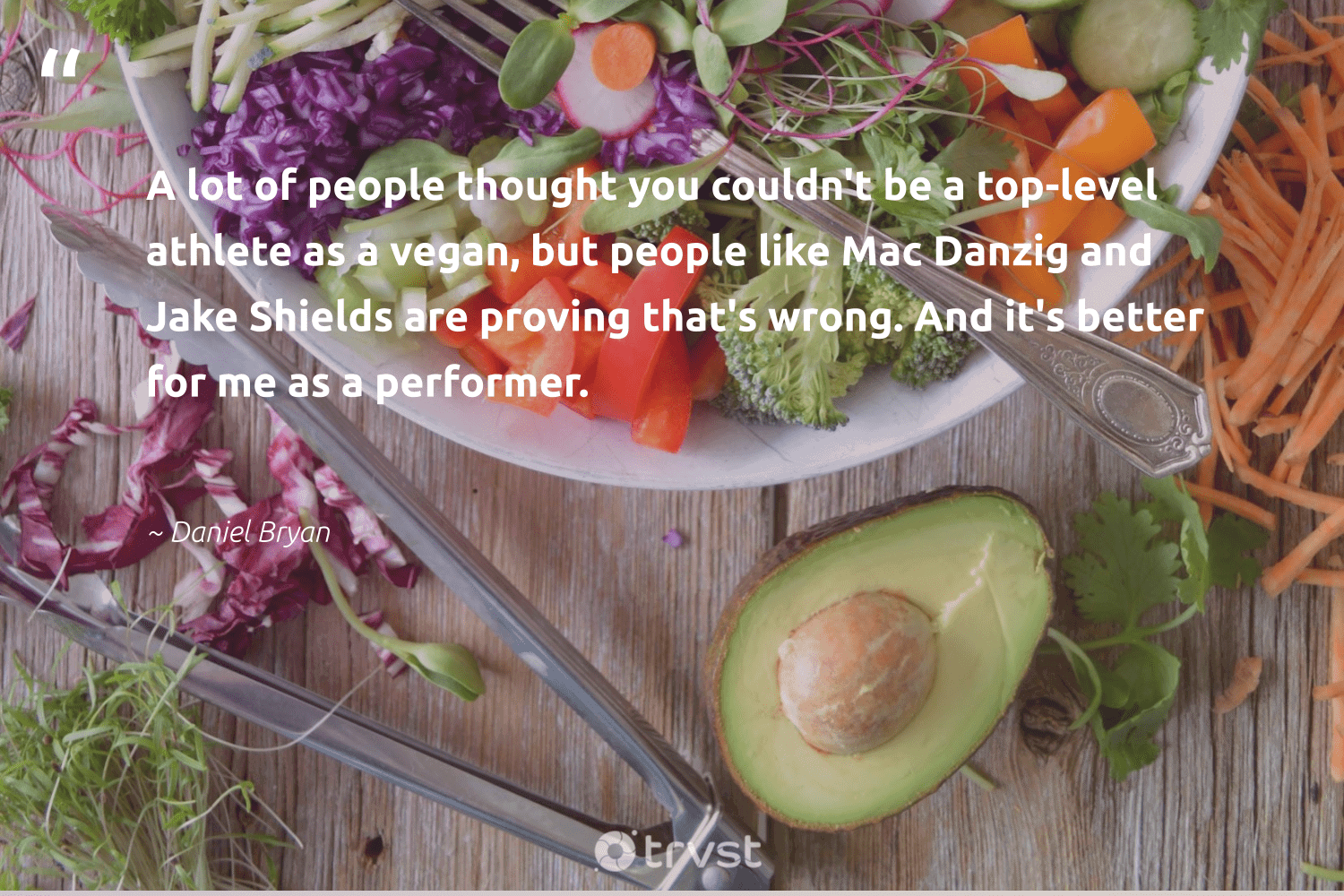 """""""A lot of people thought you couldn't be a top-level athlete as a vegan, but people like Mac Danzig and Jake Shields are proving that's wrong. And it's better for me as a performer.""""  - Daniel Bryan #trvst #quotes #vegan #plantbased #bethechange #gogreen #impact #veggie #green #sustainable #ecoconscious #vegetarian"""