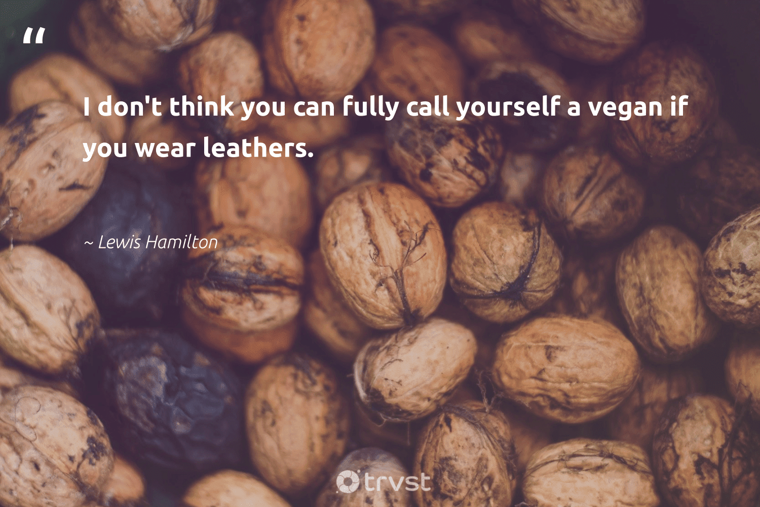 """""""I don't think you can fully call yourself a vegan if you wear leathers.""""  - Lewis Hamilton #trvst #quotes #vegan #whatveganseat #green #sustainability #dogood #vegetarian #sustainable #bethechange #thinkgreen #veganfoodshare"""