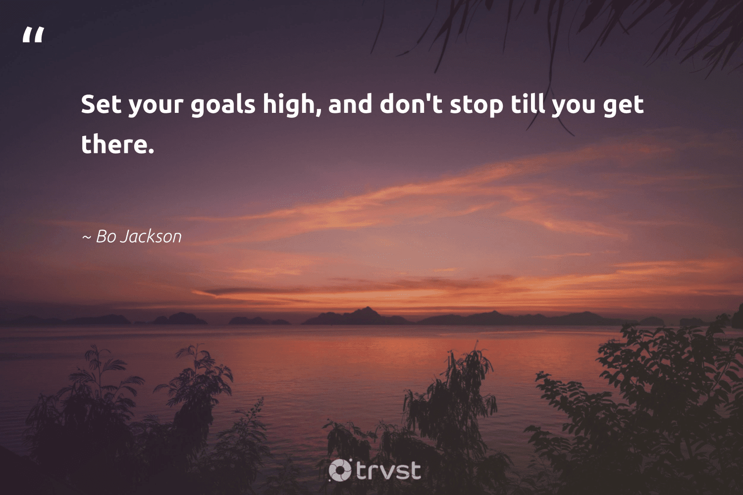 """""""Set your goals high, and don't stop till you get there.""""  - Bo Jackson #trvst #quotes #goals #mindful #begreat #nevergiveup #takeaction #creativemindset #futureofwork #mindset #dogood #positivity"""