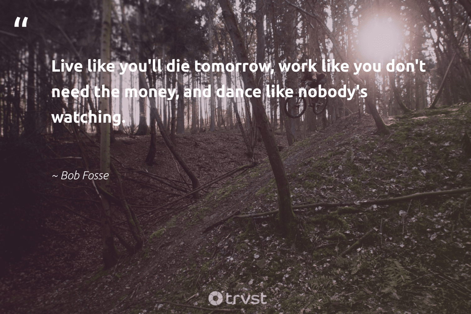 """""""Live like you'll die tomorrow, work like you don't need the money, and dance like nobody's watching.""""  - Bob Fosse #trvst #quotes #softskills #socialimpact #futureofwork #bethechange #begreat #thinkgreen #nevergiveup #socialchange #beinspired #ecoconscious"""