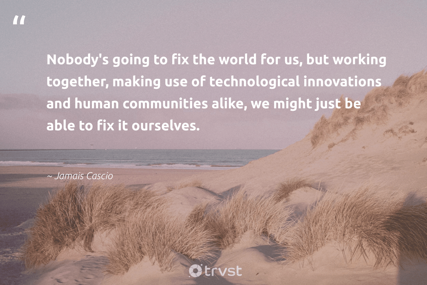 """""""Nobody's going to fix the world for us, but working together, making use of technological innovations and human communities alike, we might just be able to fix it ourselves.""""  - Jamais Cascio #trvst #quotes #workingtogether #communities #softskills #beinspired #nevergiveup #impact #futureofwork #takeaction #begreat #thinkgreen"""