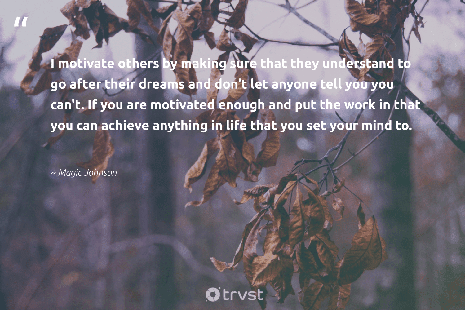 """""""I motivate others by making sure that they understand to go after their dreams and don't let anyone tell you you can't. If you are motivated enough and put the work in that you can achieve anything in life that you set your mind to.""""  - Magic Johnson #trvst #quotes #softskills #collectiveaction #begreat #changetheworld #nevergiveup #dosomething #futureofwork #thinkgreen #dotherightthing #socialimpact"""