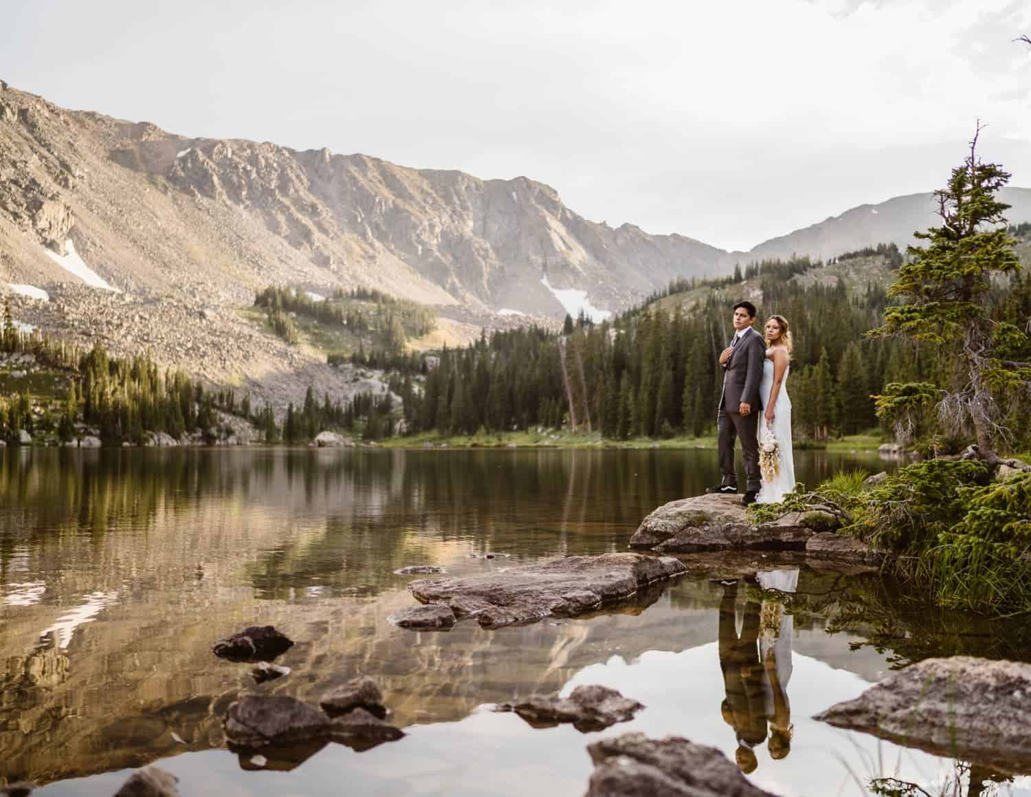 Bride and Groom by Alpine Lake Colorado Elopement Packages