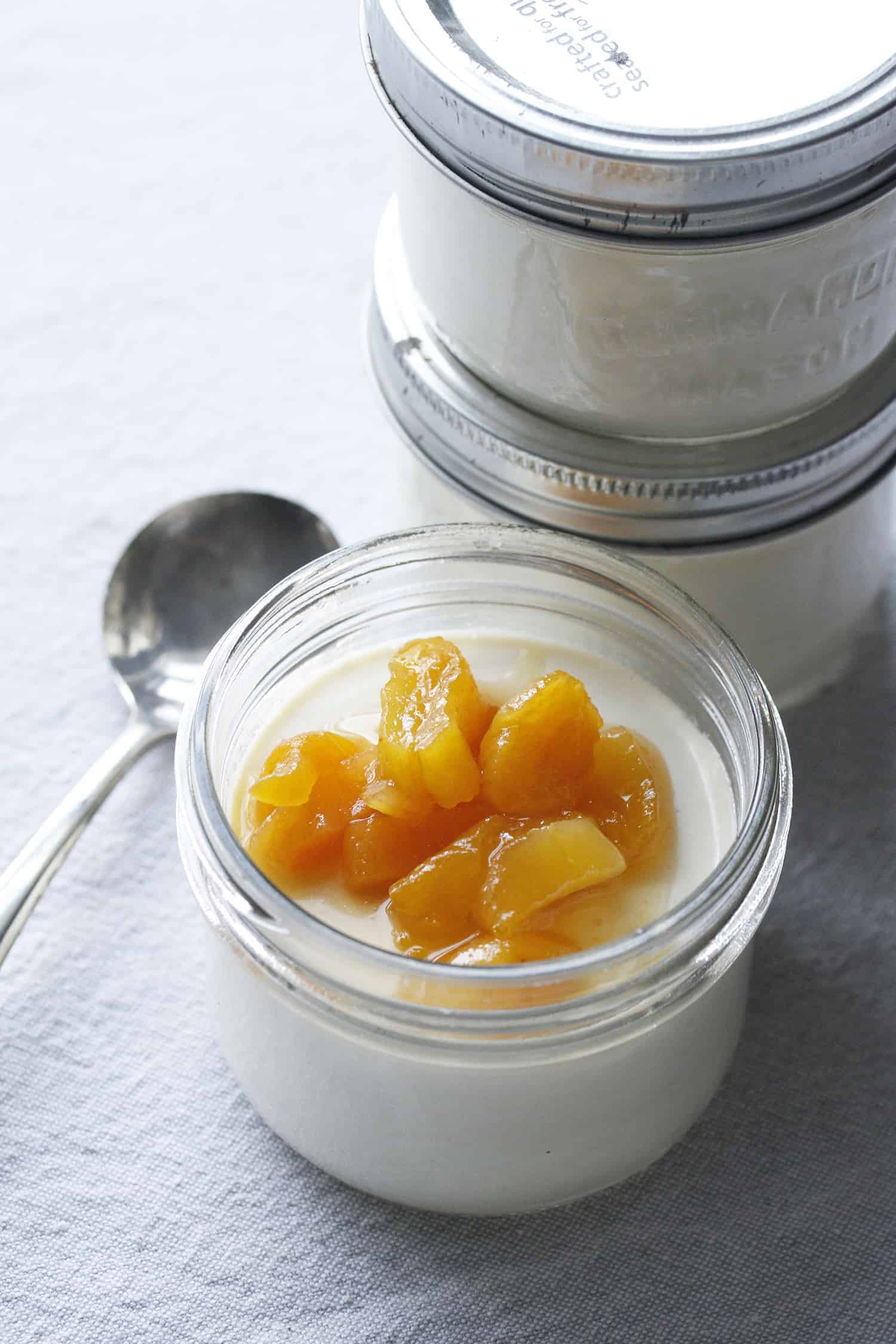 Ginger Panna Cotta with Apricot Compote