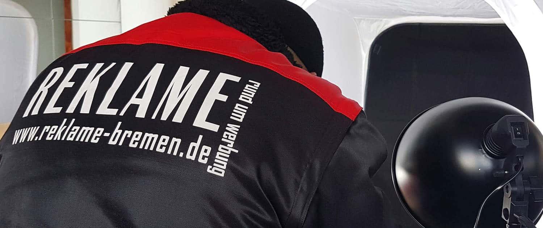 Textildruck Flexdruck auf Arbeitsjacke Reklame Bremen