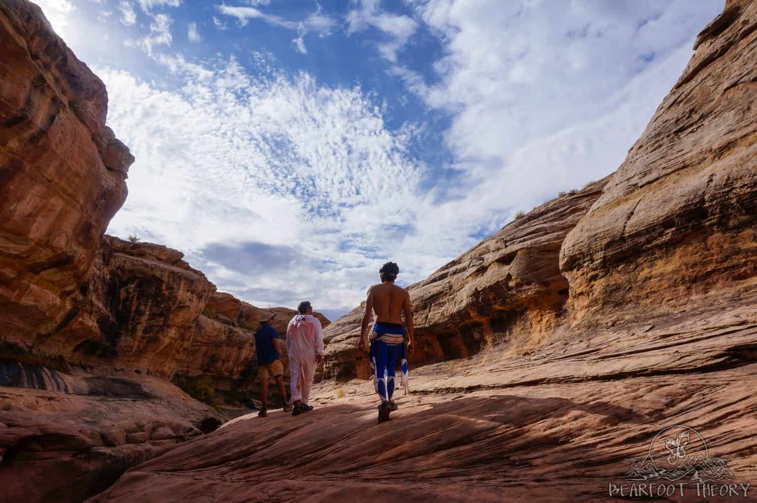 Holman slot canyon on the White Rim Trail - exploring in costume on Halloween