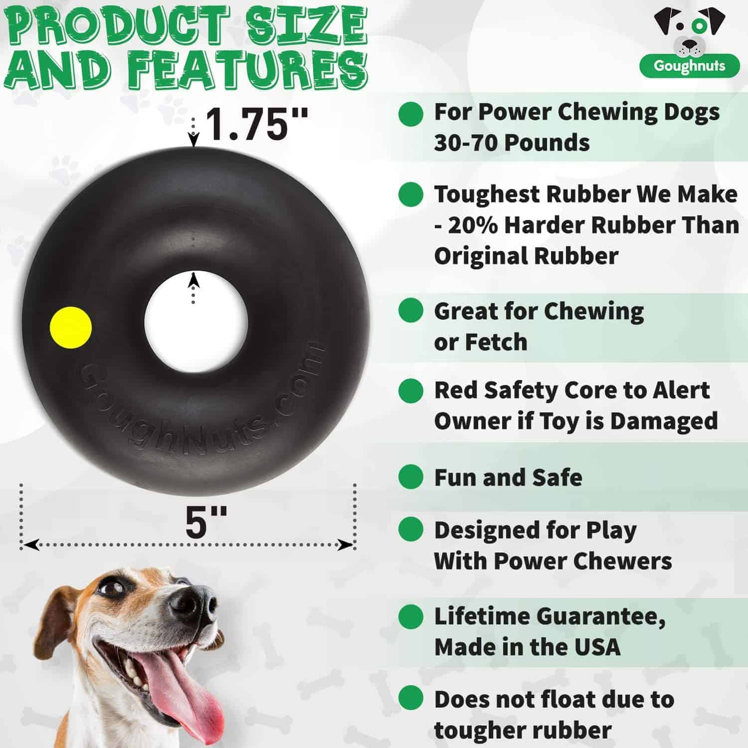 Product infographic for GOUGHNUTS original dog chew toy with 8 bullet points.