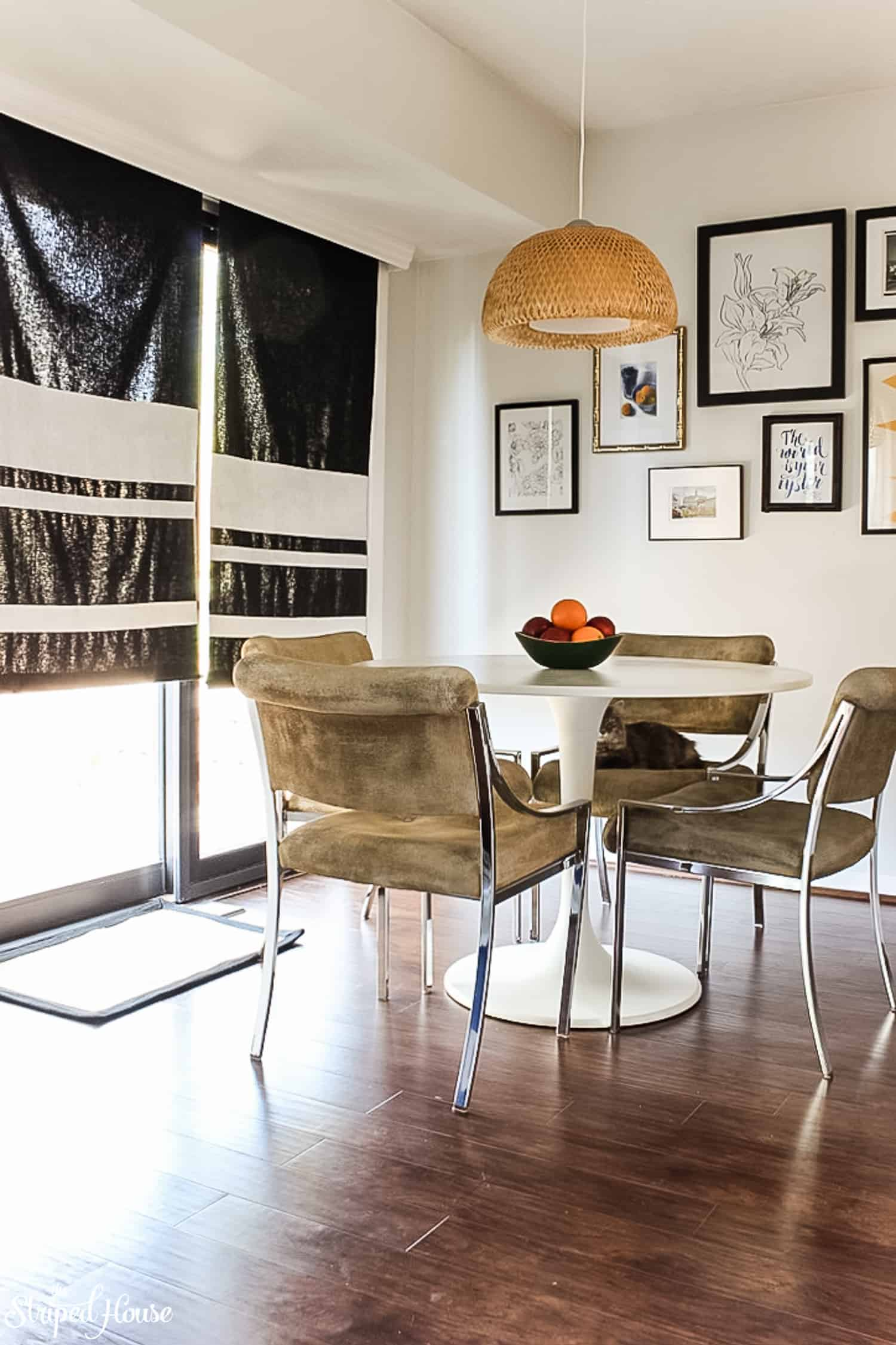 In six short weeks, I DIY'ed the eating area of my black and white traditional, but contemporary, kitchen for the One Room Challenge.