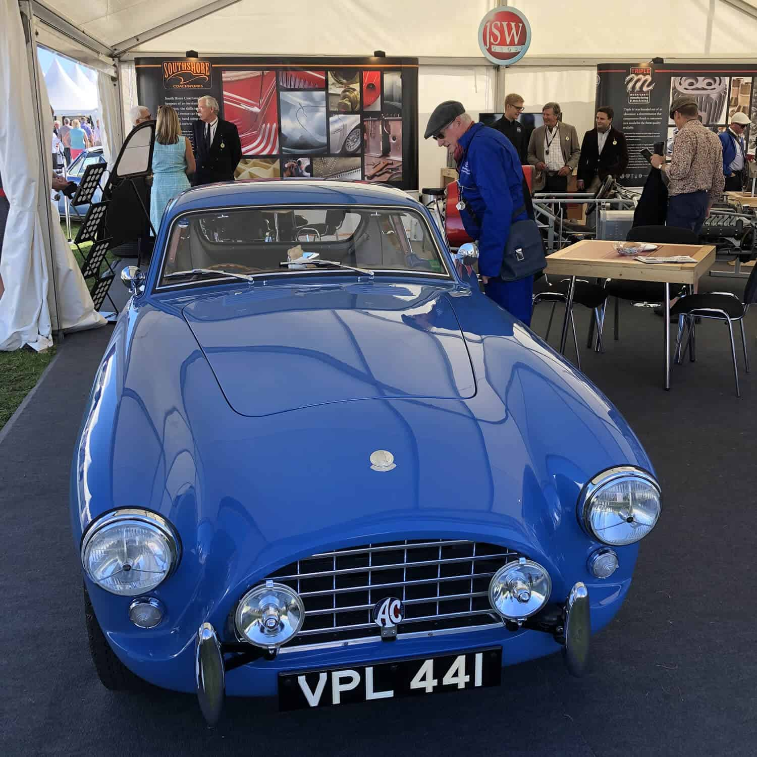 AC Bluebird at Goodwood Revival 2019 on JSW stand