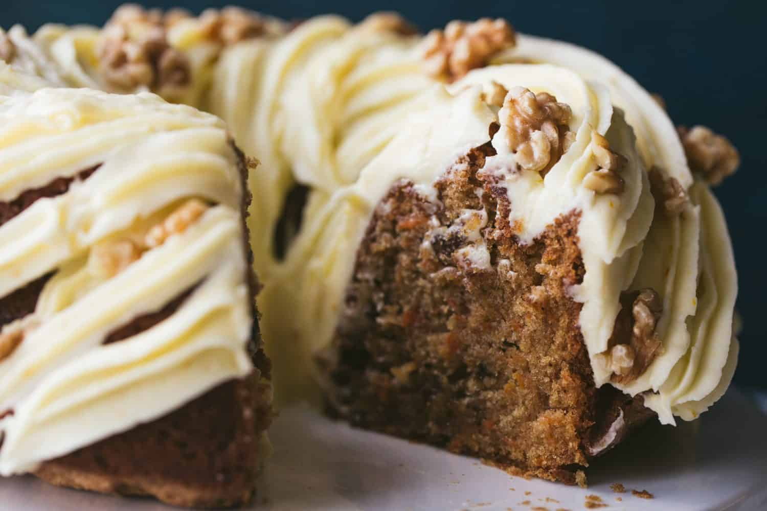 The inside of a carrot cake.