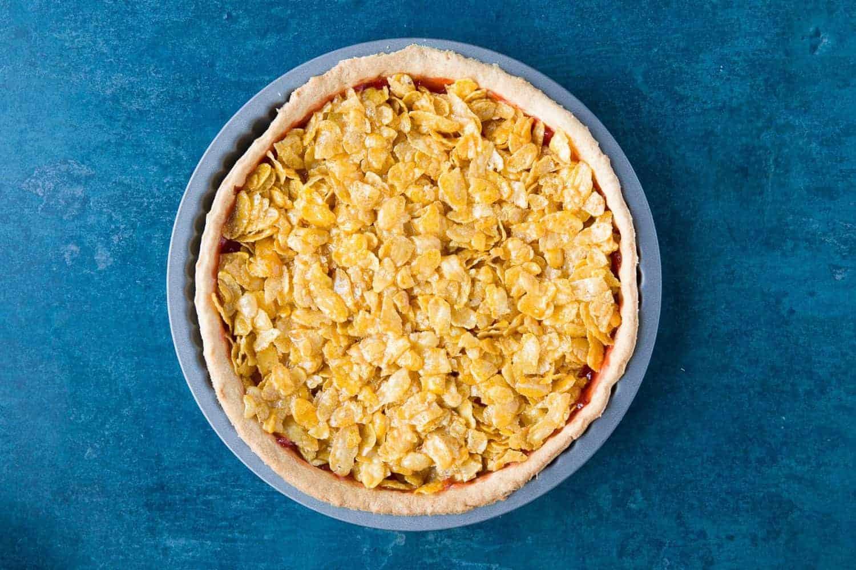 A cornflake tart in the tin.