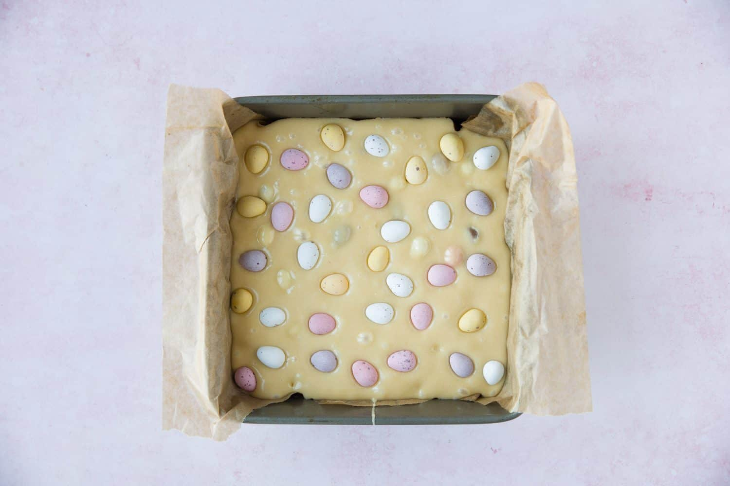 A baking tray containing blondie mixture.