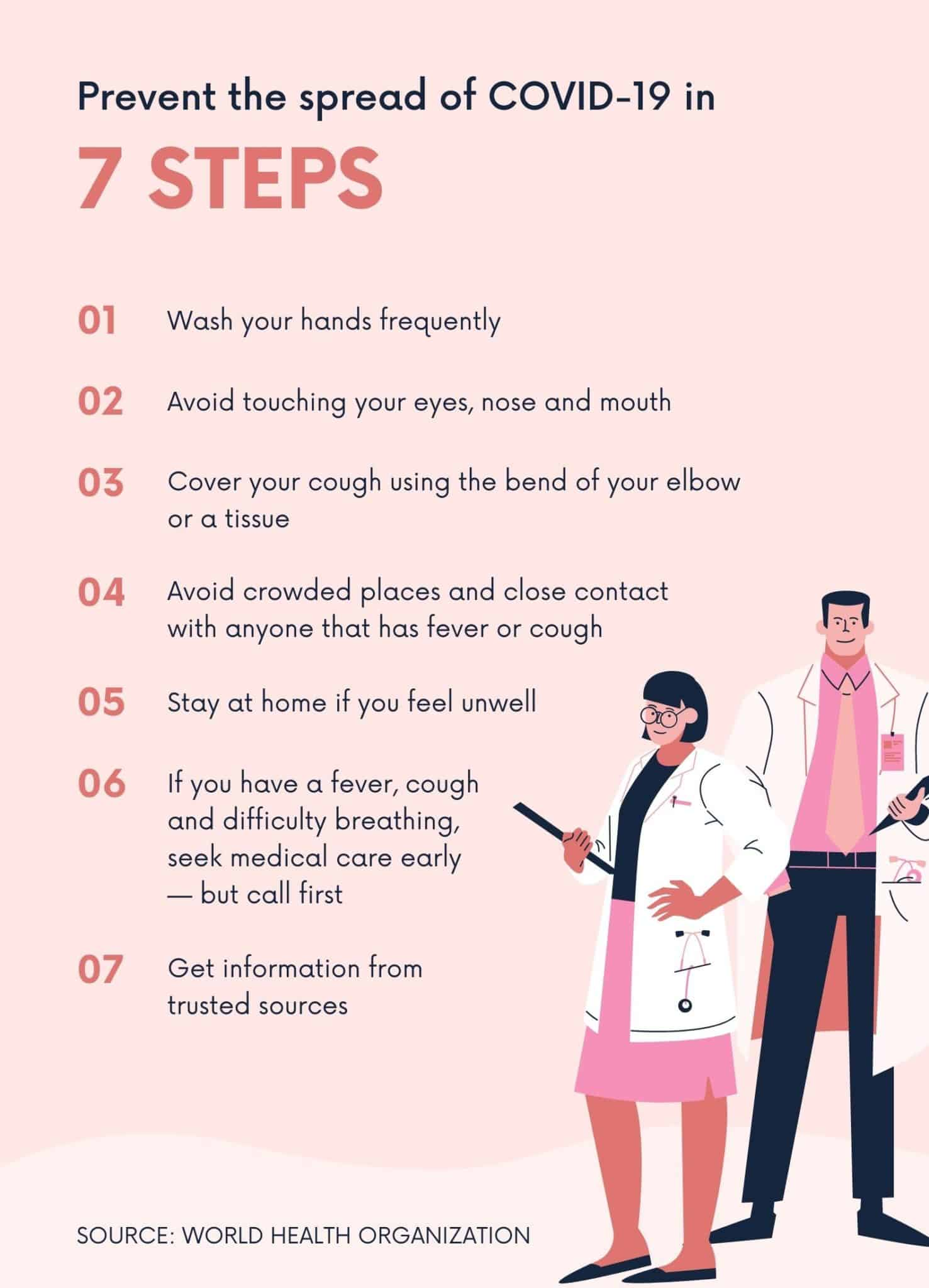 Pink 7 Step Prevention Coronavirus Awareness Poster