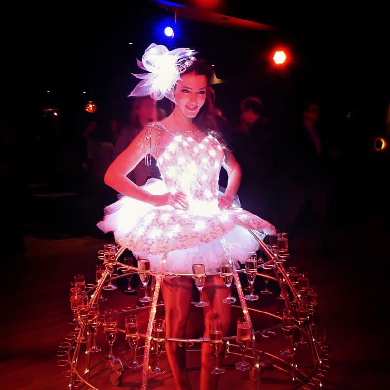 Hotesse Champagne Robe lumineuse LED