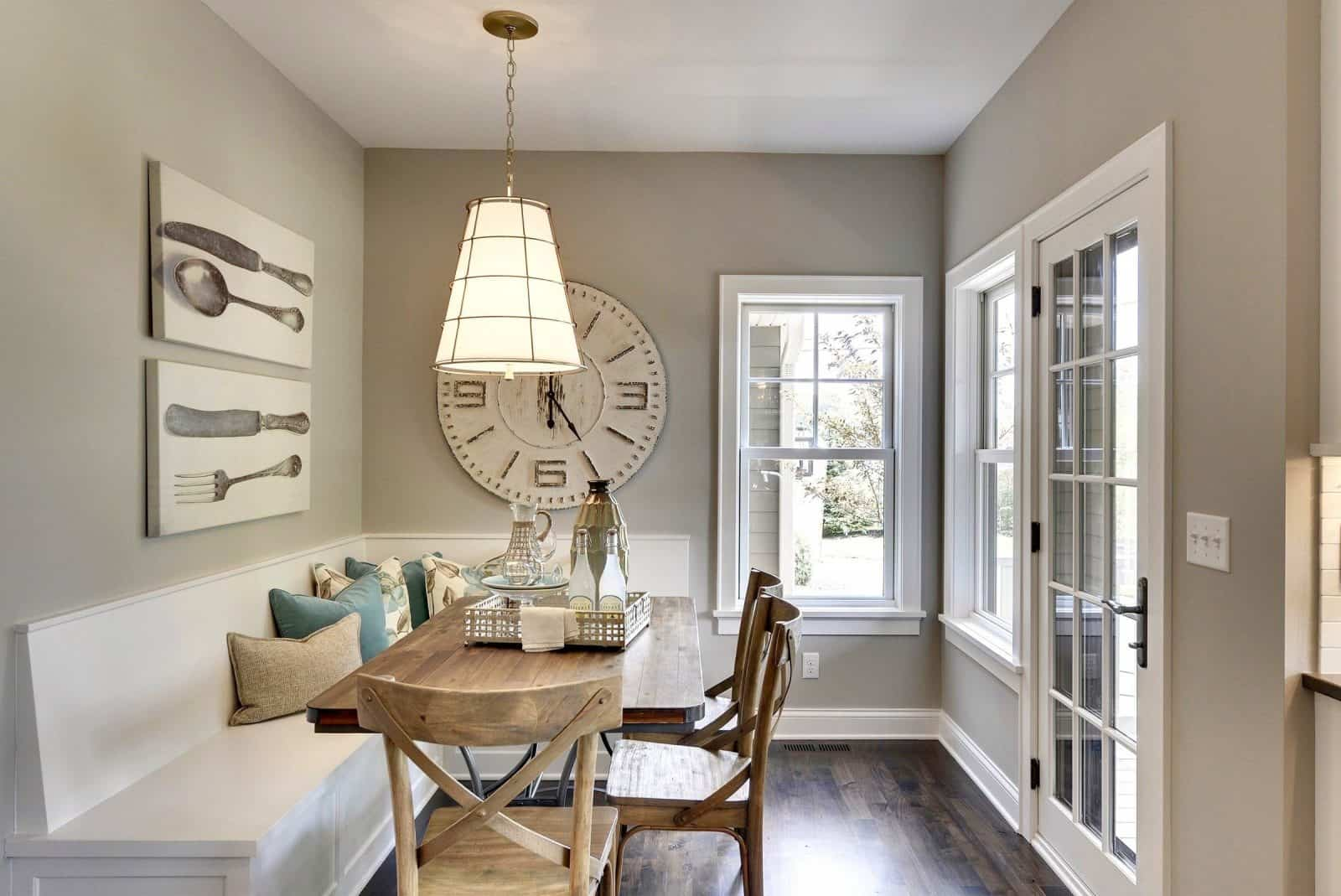 traditional dining room with Sherwin-Williams colonnade gray 7641 wall paint color