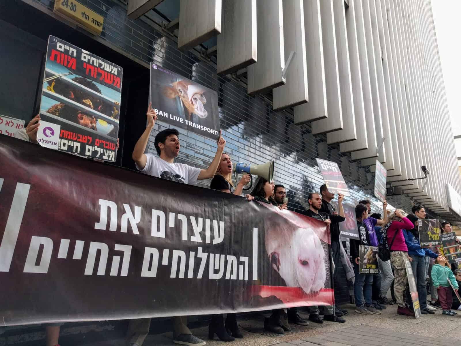 הפגנה נגד המשלוחים החיים מול שגרירות אוסטרליה