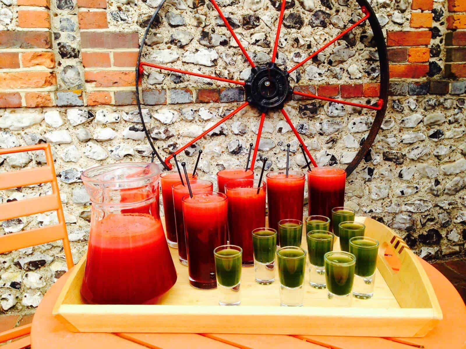 selection of healthy juices