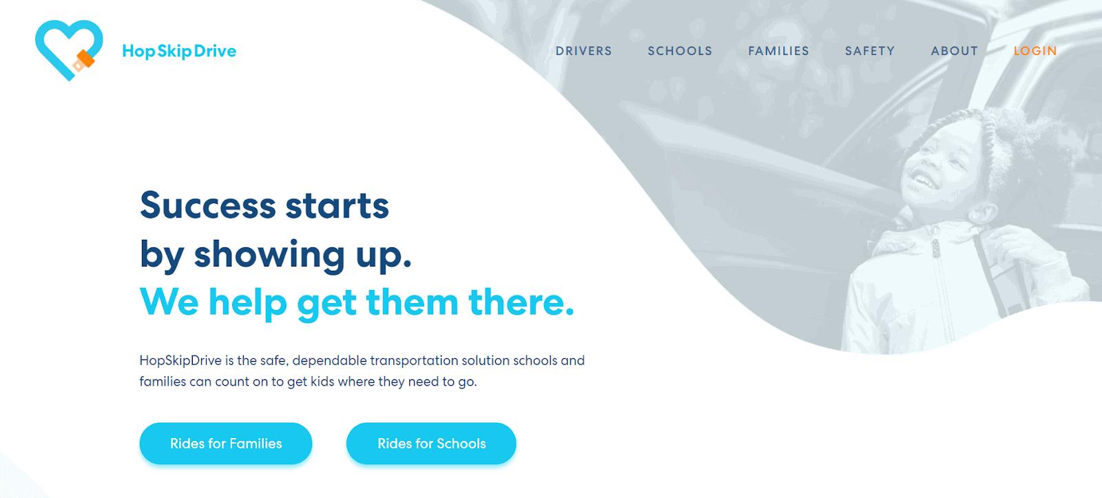 HopSkipDrive homepage screenshot