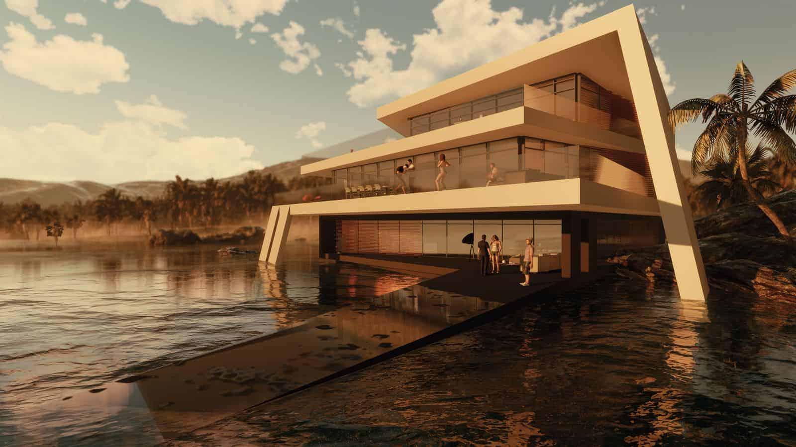 Futuristische Villa im Wasser