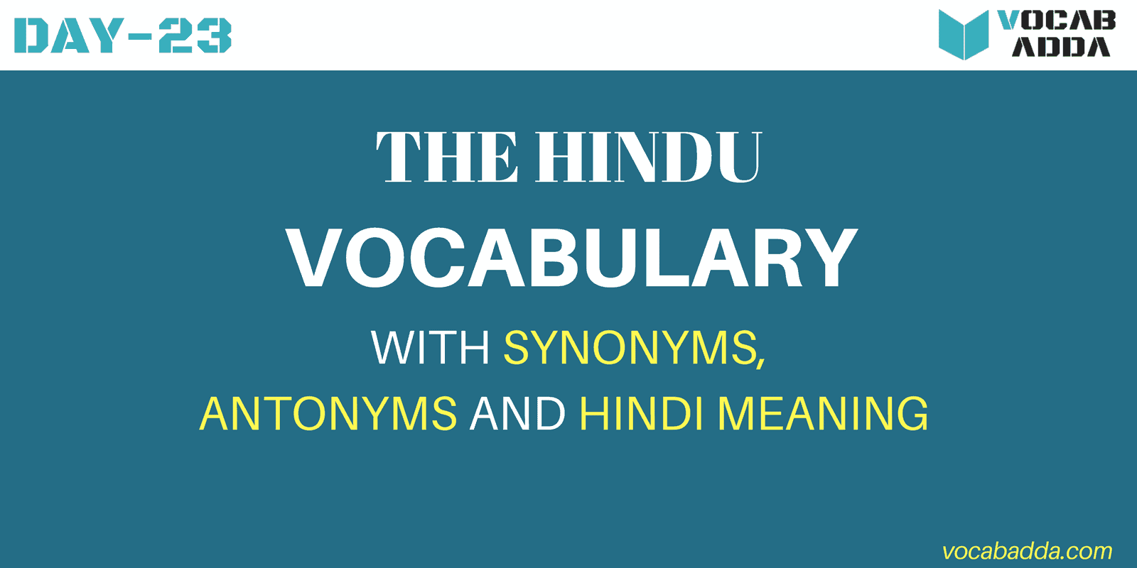 The Hindu Vocabulary Day-23