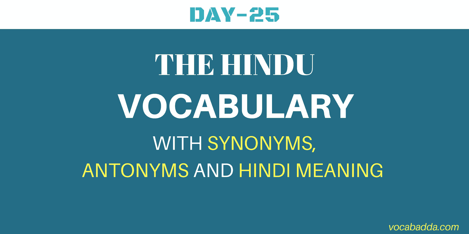 The Hindu Vocabulary Day-25