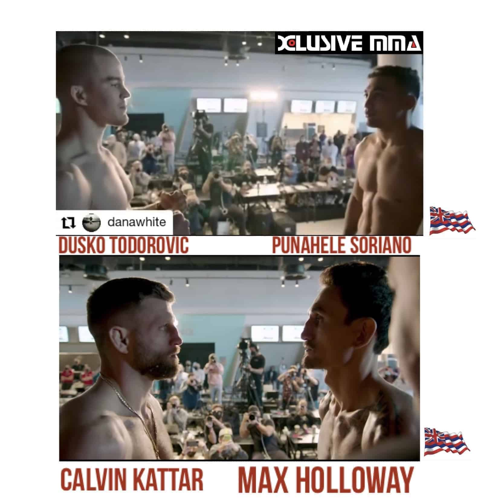 Hawaiian UFC Fighters Max Holloway and Punahele Soriano Face-offs their opponents