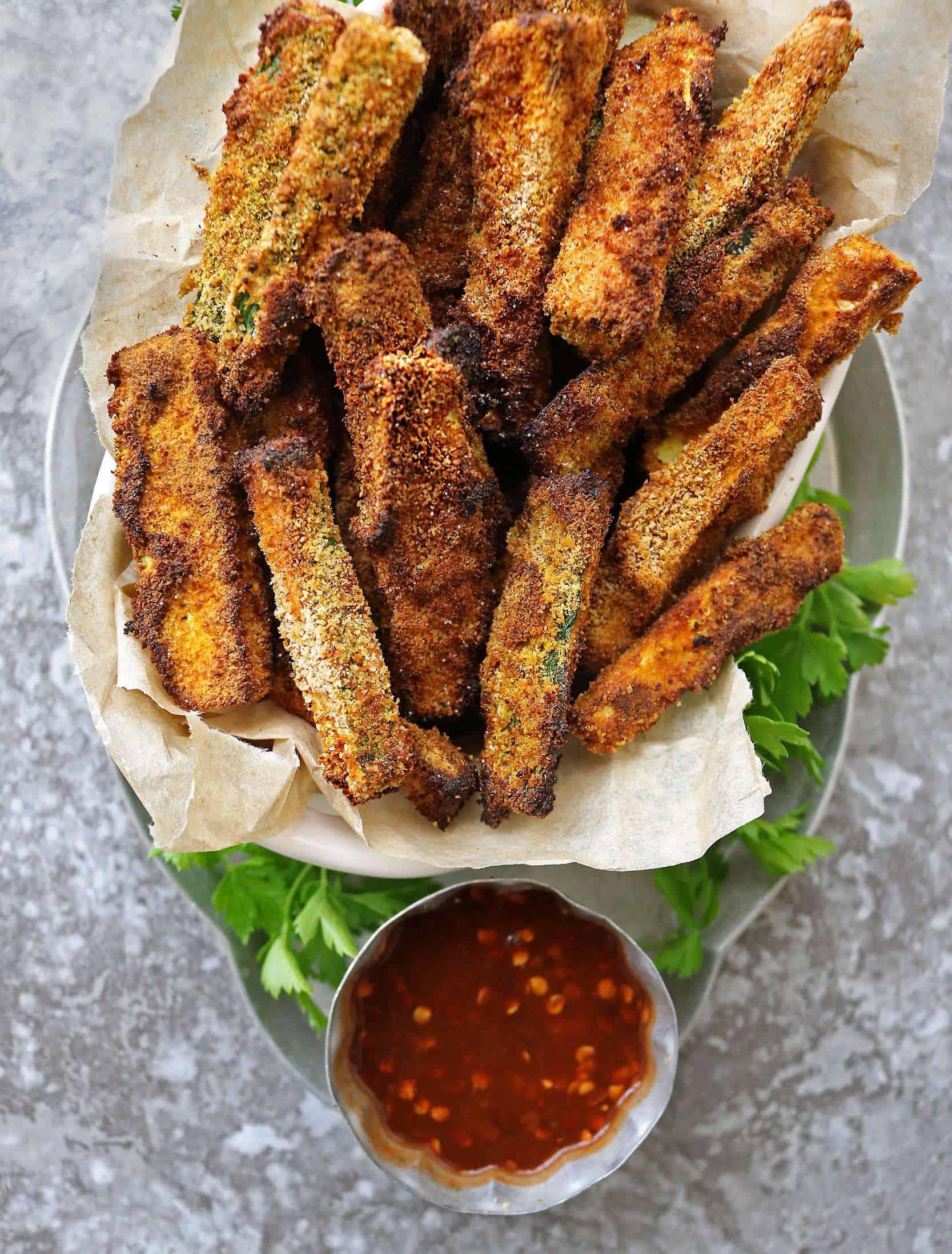 Gluten Free Air Fryer Zucchini Fries on a tray.