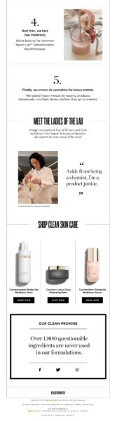 Example of an educational ecommerce brand email by Beauty Counter Part 2