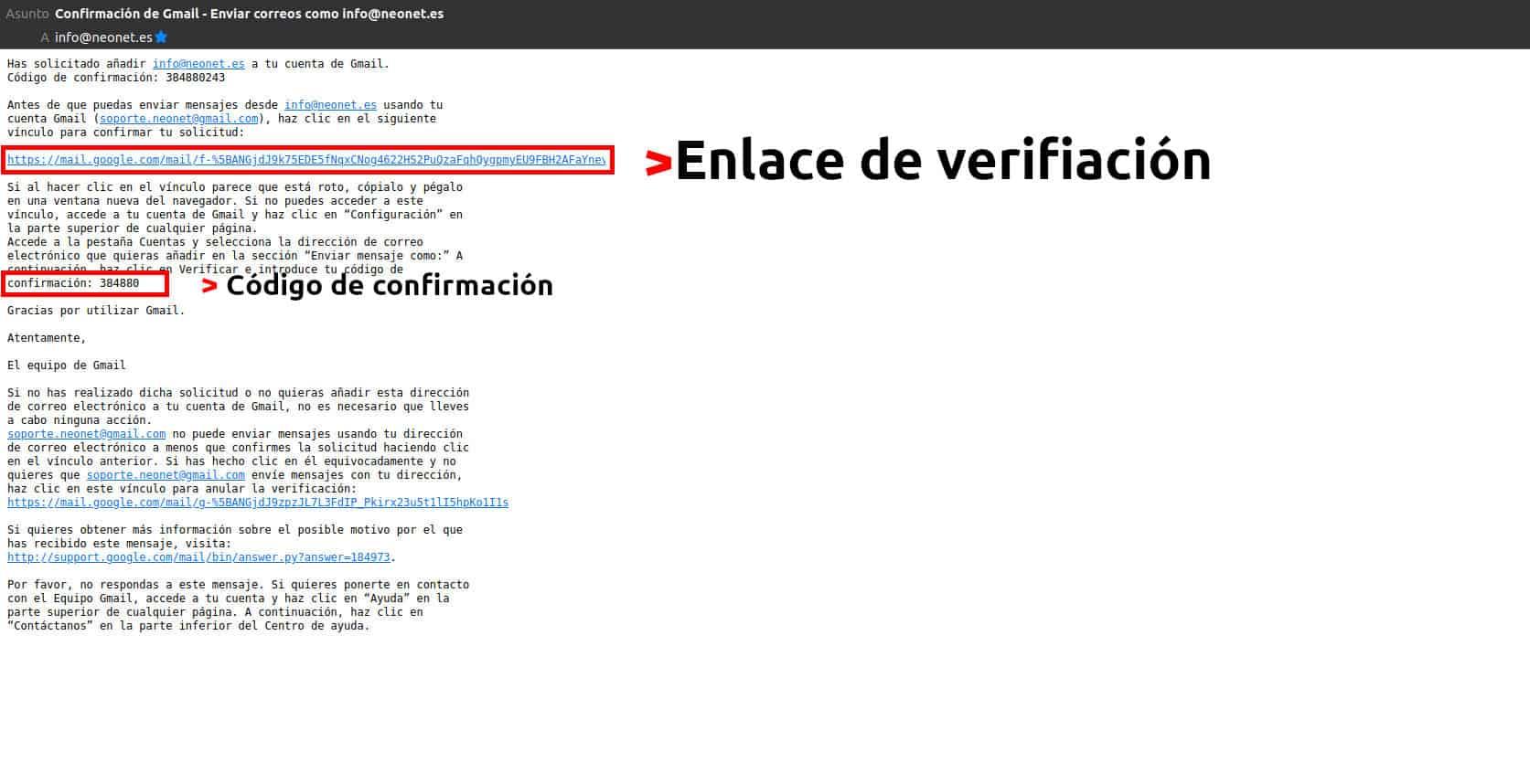 Correo de confirmación de cuenta de correo de empresa en Gmail