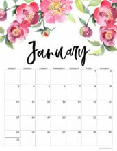 January 2021 Floral Calendar page with pink flowers