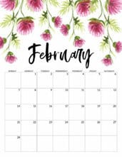 February 2021 Floral Calendar page with pink flowers