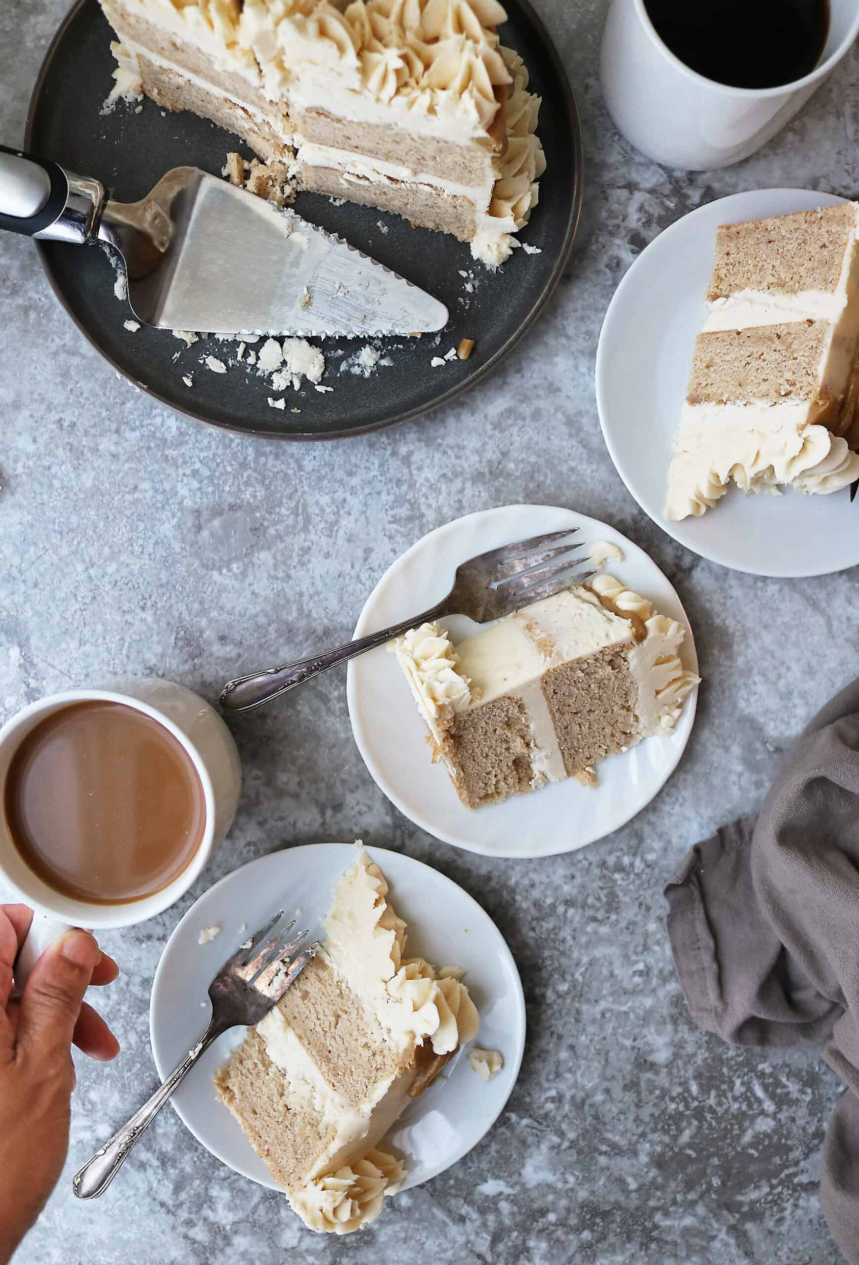 Delicious Pumpkin Spice Cake with maple brown sugar icing