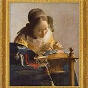 """""""Die Spitzenklöpplerin"""" von Jan Vermeer van Delft, limit. Giclée Reproduktion"""