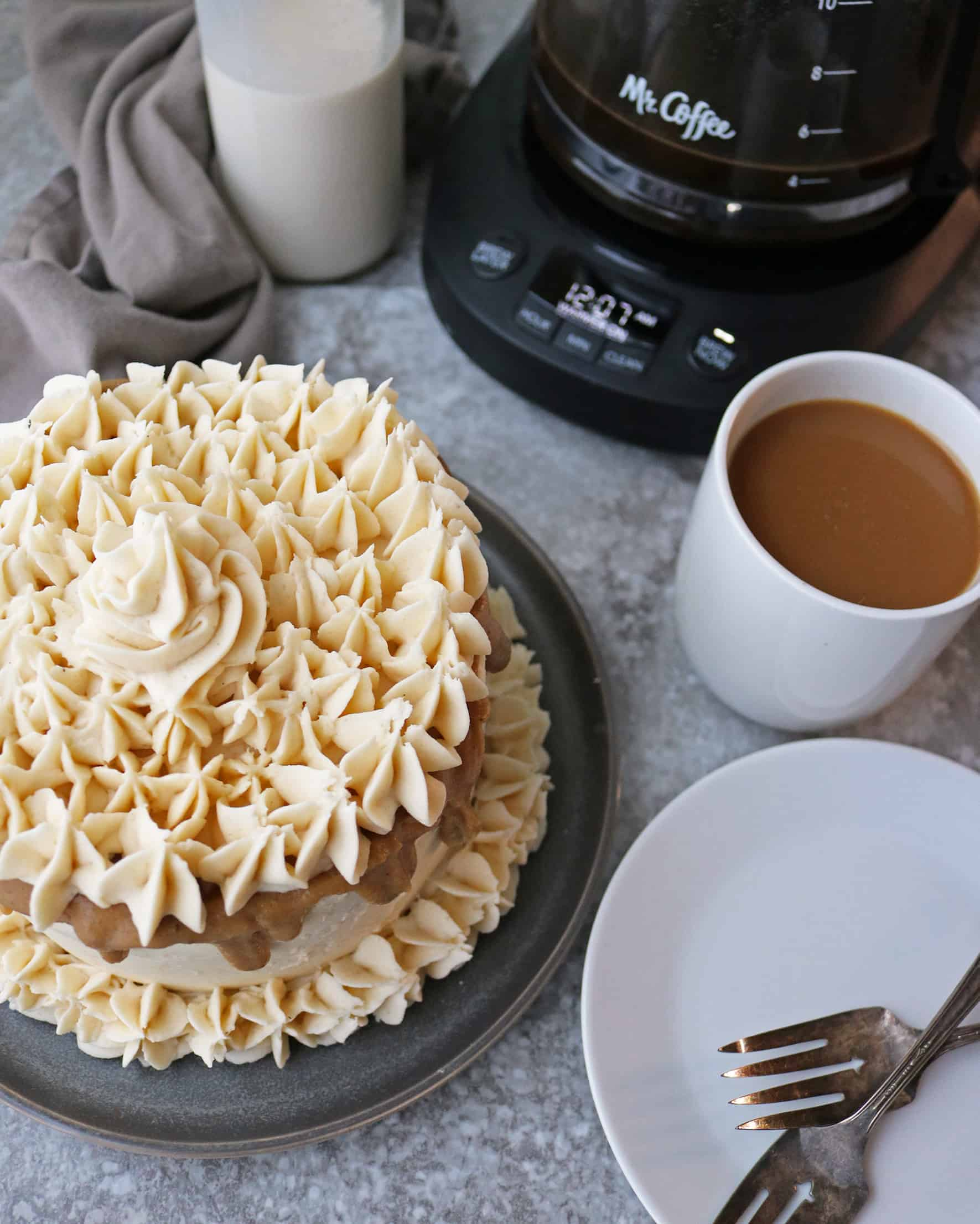 Pumpkin Spice Cake with maple brown sugar icing and coffee
