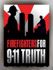 Banner for the group Firefighters for 9-11 truth with a silhouette background of the World Trade Center Towers and two firefighters