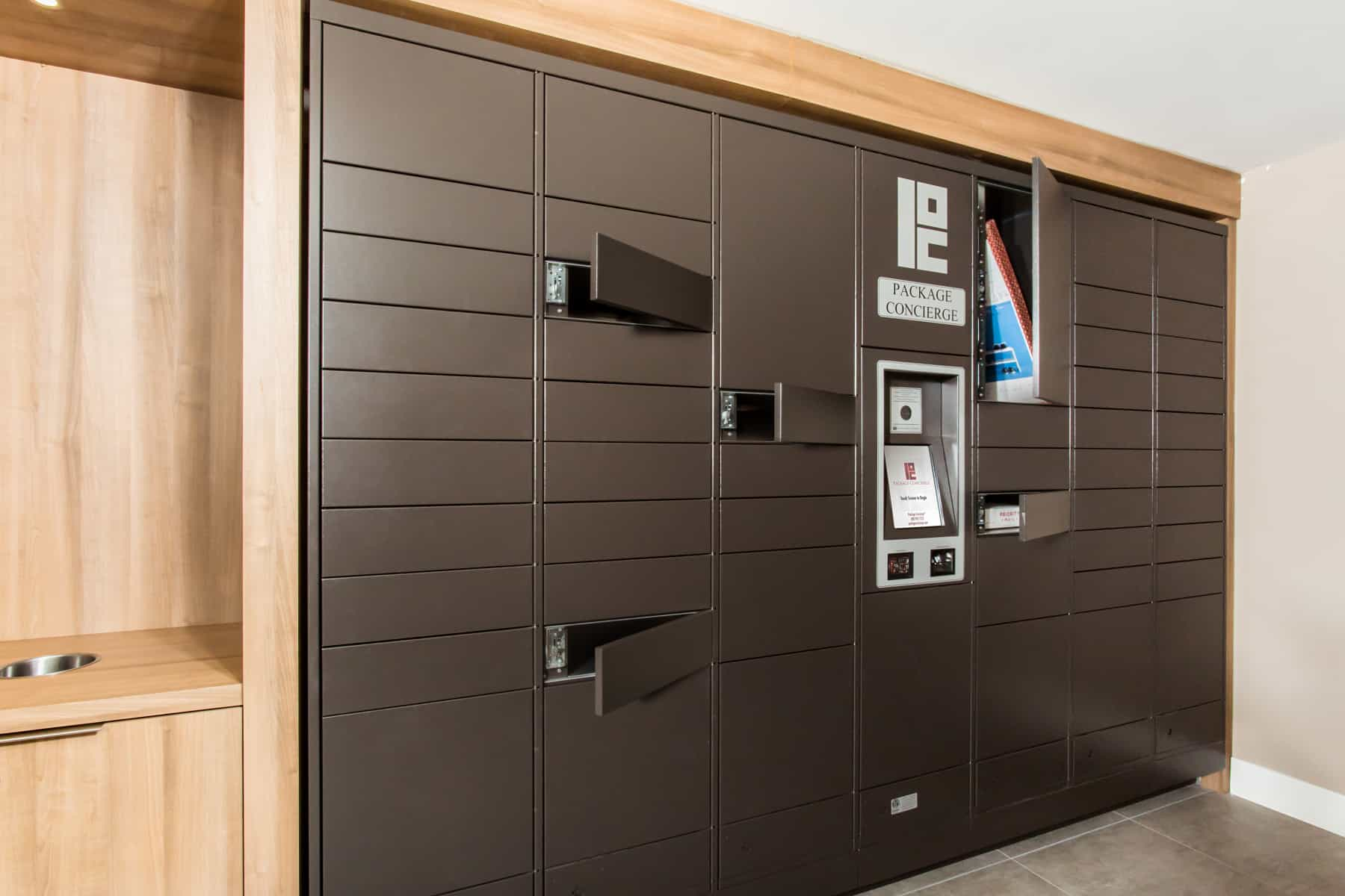 Package Locker Compartments Open to Reveal Multiple Package Deliveries