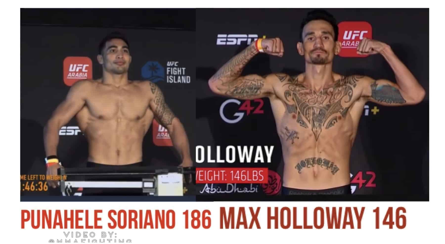 Hawaii MMA News: UFC Fight Night Max Holloway Punahele Soriano made weights