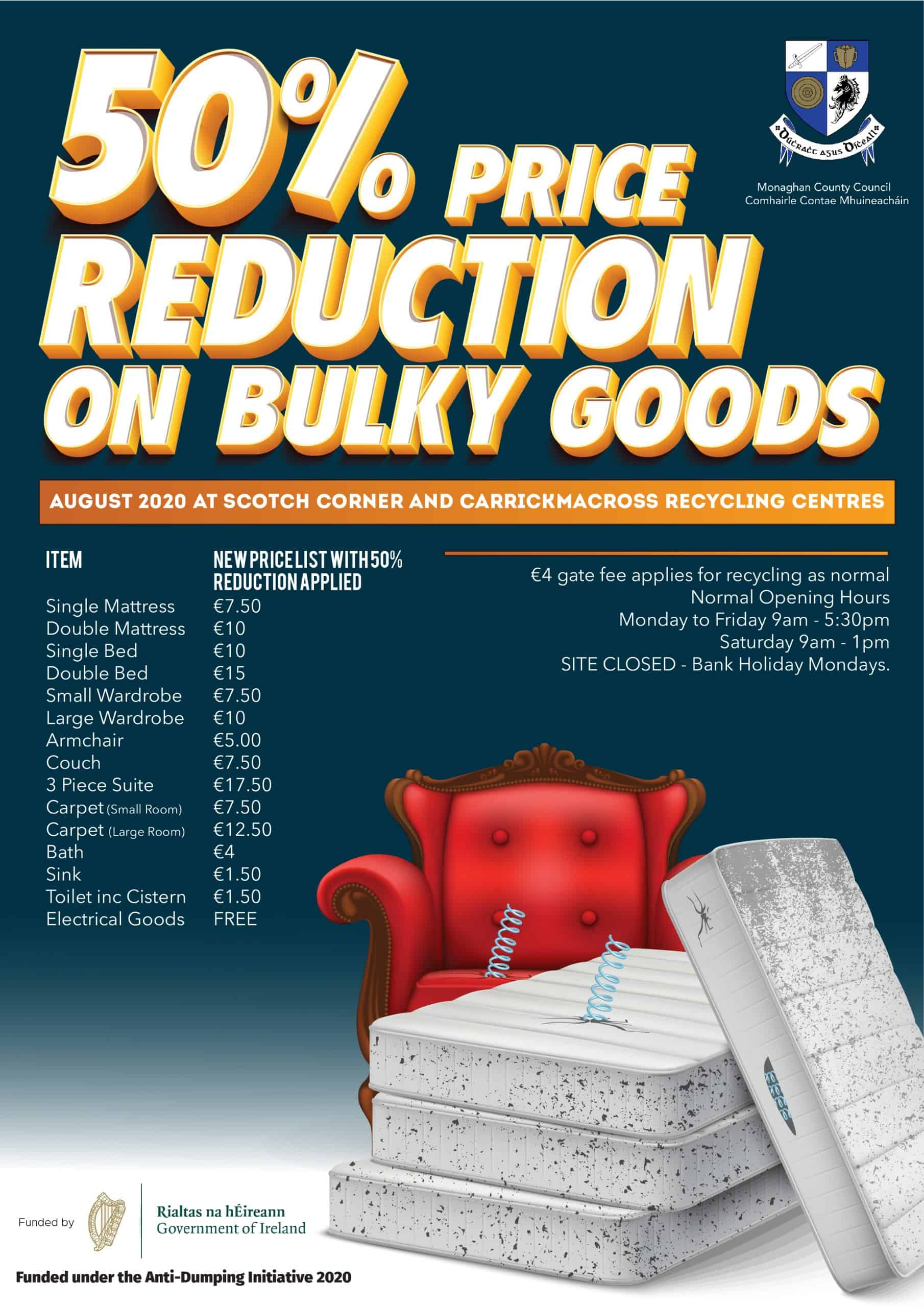 Bulky Goods Disposal: 50% Price Reduction