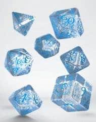 Polydice 7 Dobbelstenenset Transparent Blue Elvish Q-Workshop
