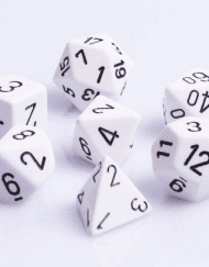 Polydice 7 Dobbelstenenset Wit met Zwart D&D Dice Dungeons and Dragons RPG DICE