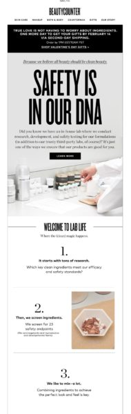 Example of an educational ecommerce brand email by Beauty Counter Part 1