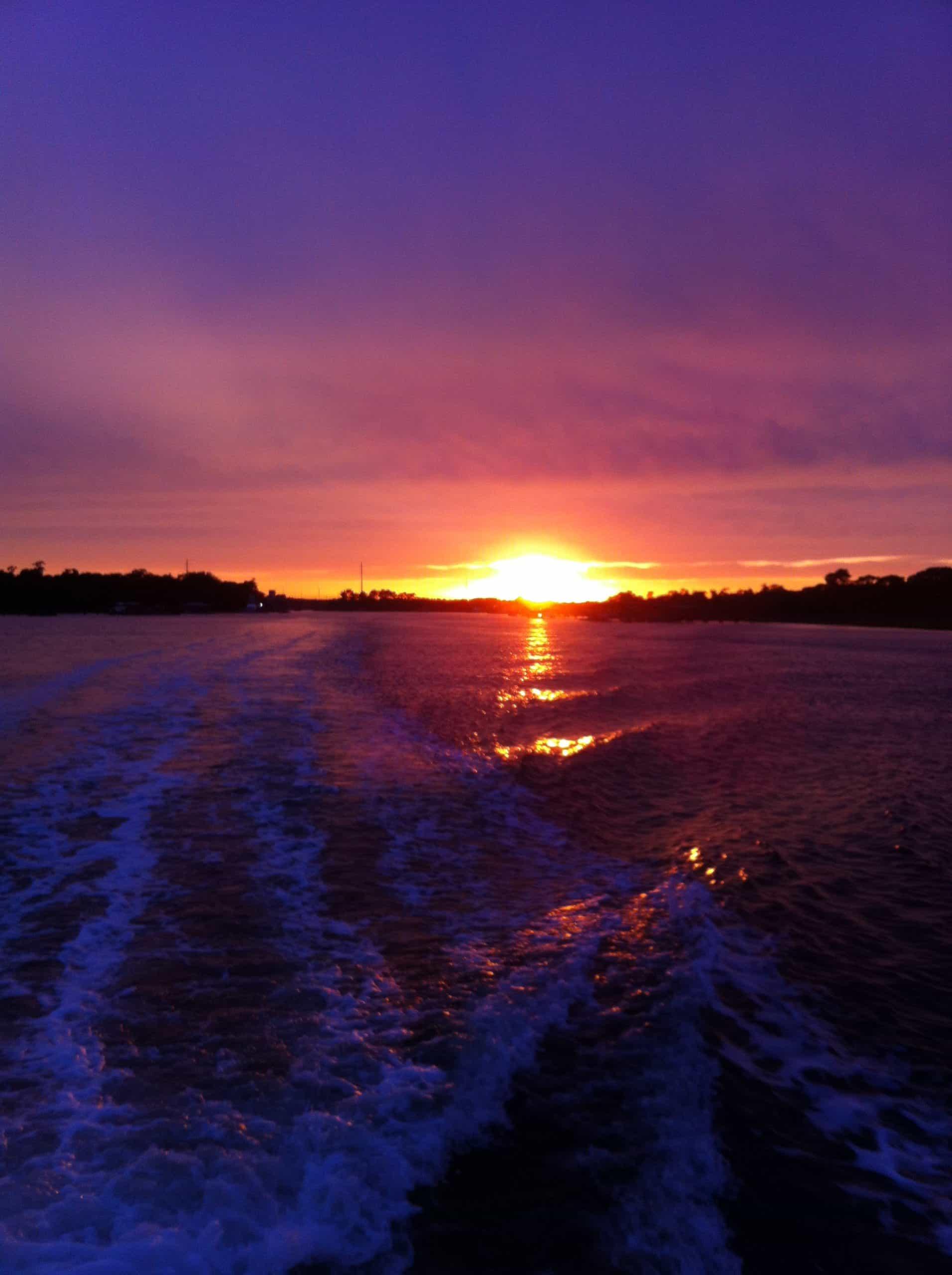 Purple sunset setting over purple water. Sunset cruise Charleston, SC