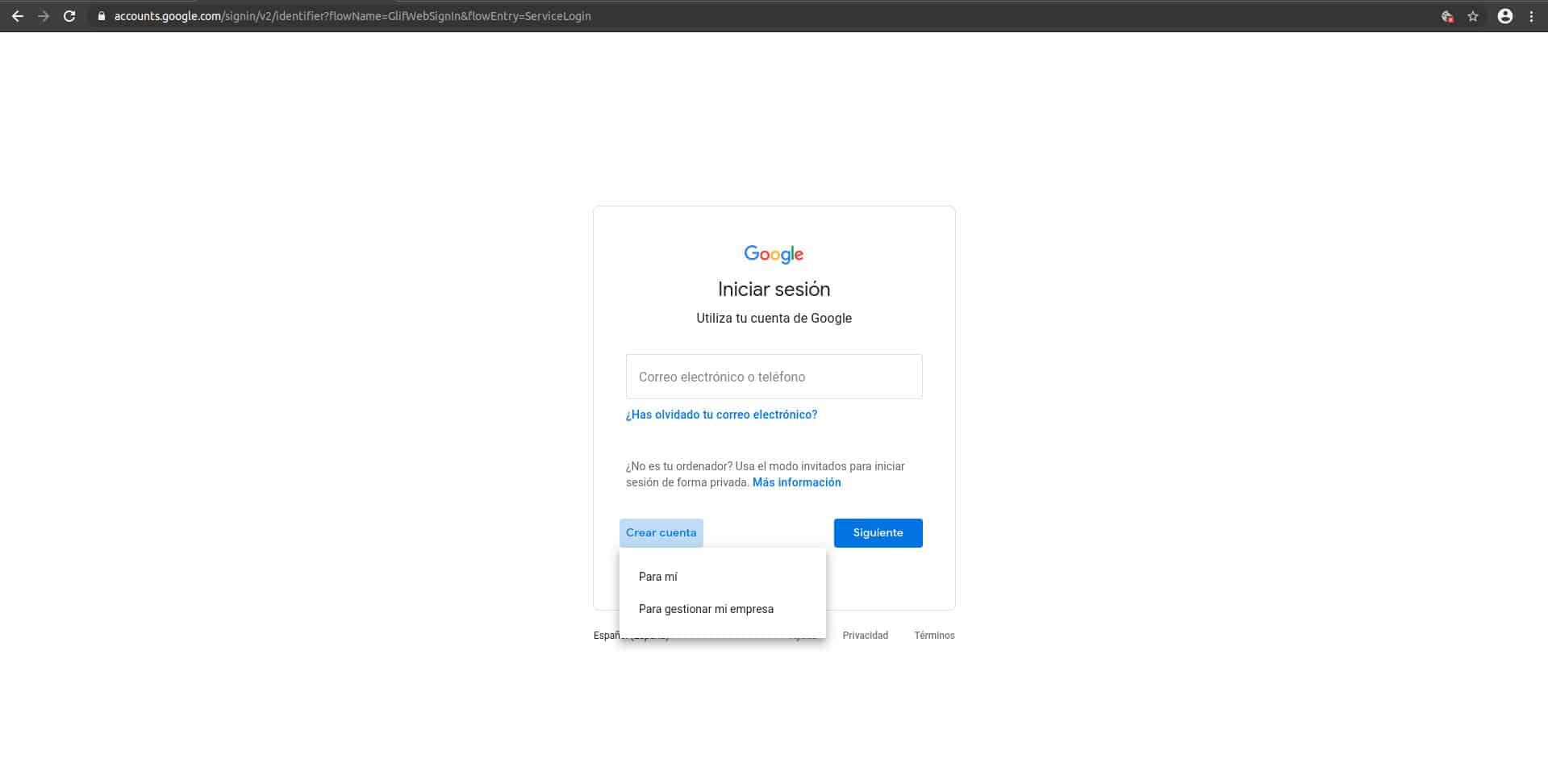Acceder a cuenta de Google o crear una cuenta en Google para solucionar el aviso de seguridad