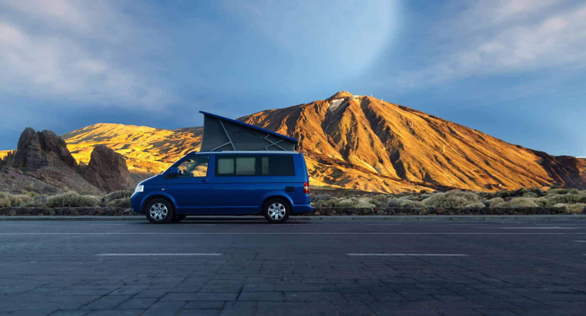 campervan by mountain