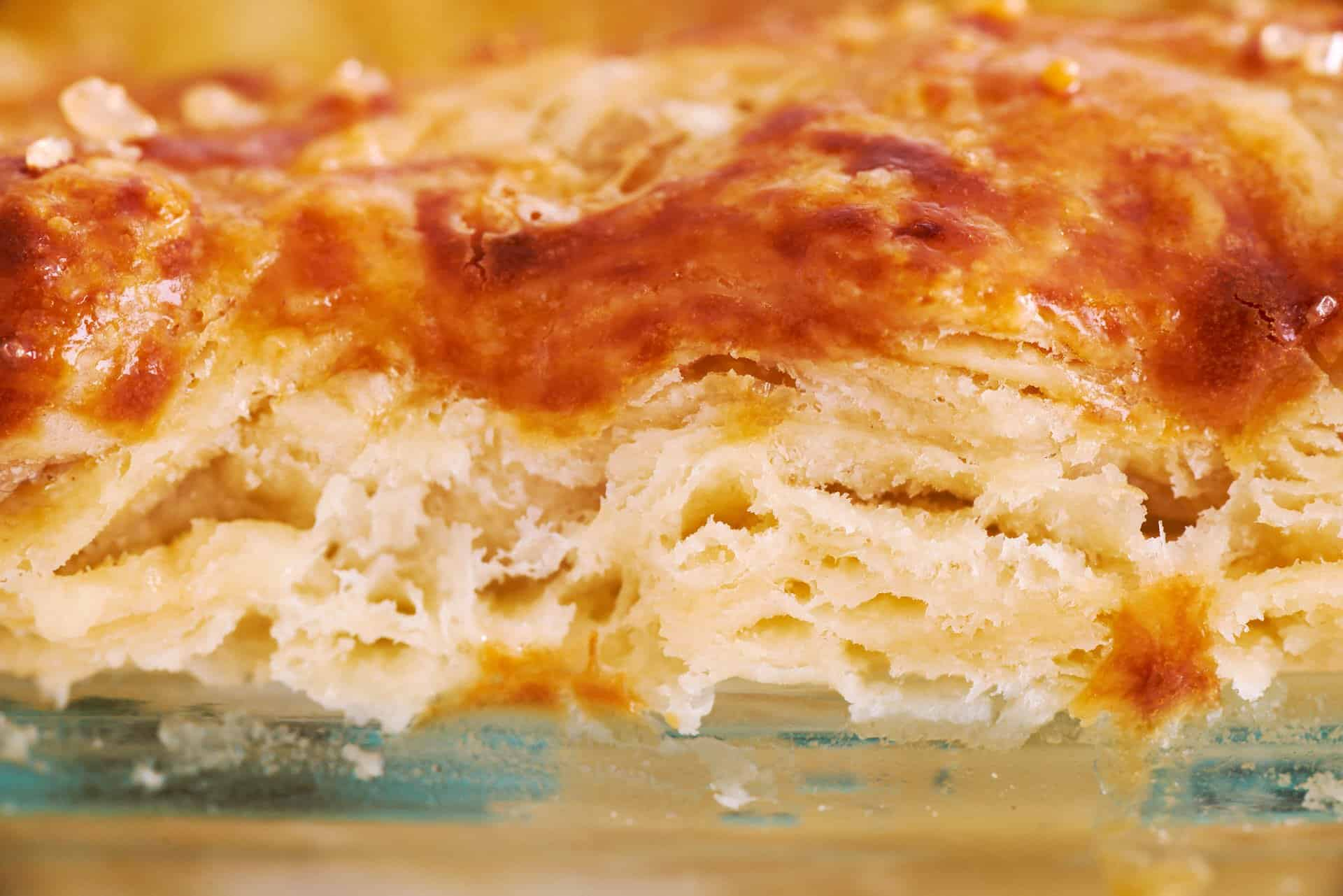 Cross section of the flakiest all-butter pie crust recipe.