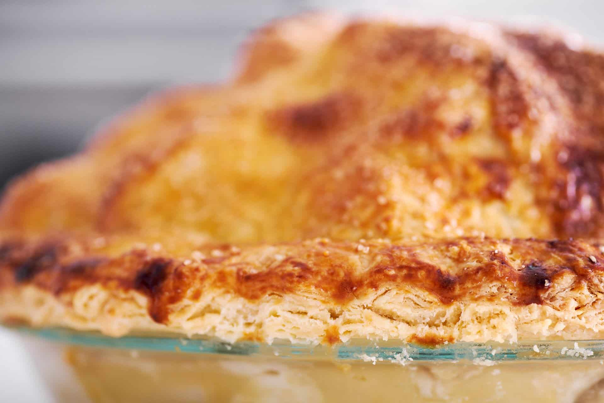 Ultra-flaky all-butter pie crust recipe creates layers of butter and dough.