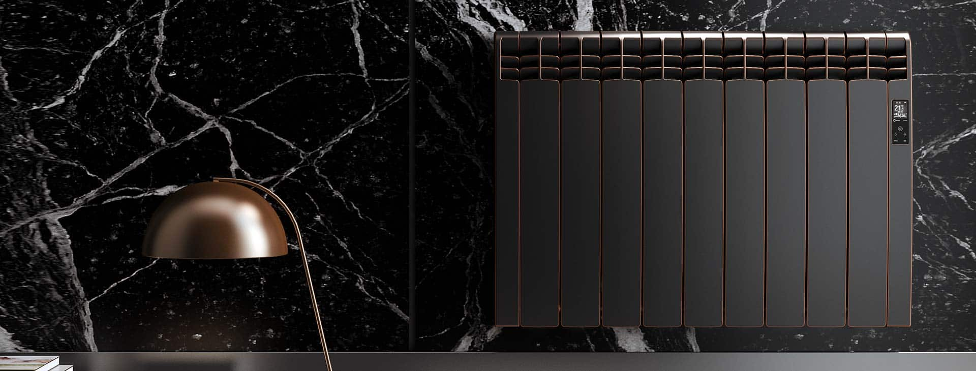 Rointe designer radiator in maldives finish with matt black edged in copper