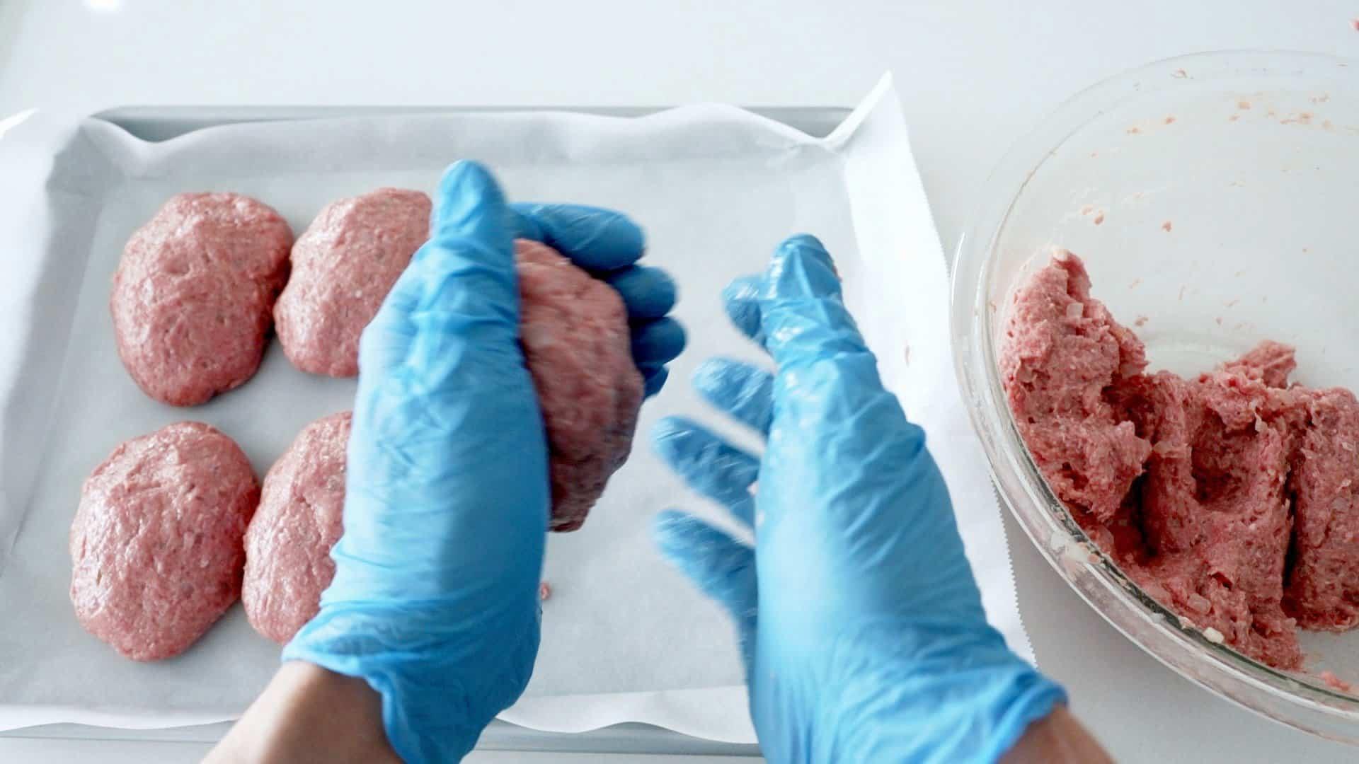 Shaping the best Hamburg Steak Patties.